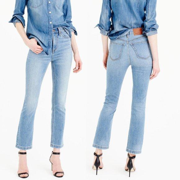 J. Crew Billie demi boot kick crop jeans in Surrey wash